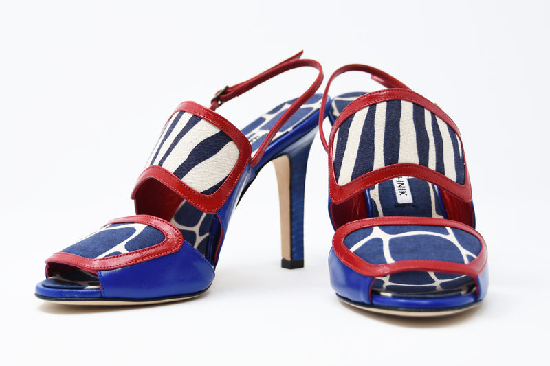 Manolo Blahnik Animal Print Cobalt & Red Sandals