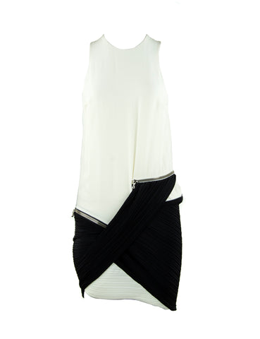 Anthony Vaccarello White & Black Dress with Zippers & Pleating- Size FR 36