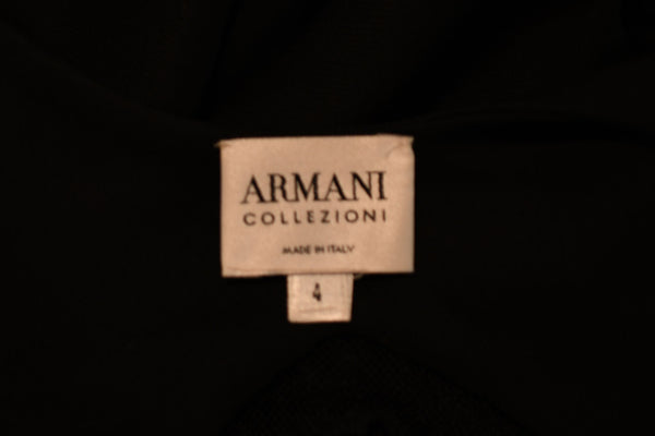 Armani Collection Black Column Gown with Lace Inserts - Size US 4
