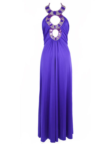 Vintage Azzaro Purple Jersey Beaded Gown - Size XS