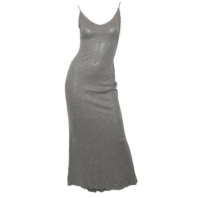 Badgley Mischka Long Gray Gown with Clear Glitter