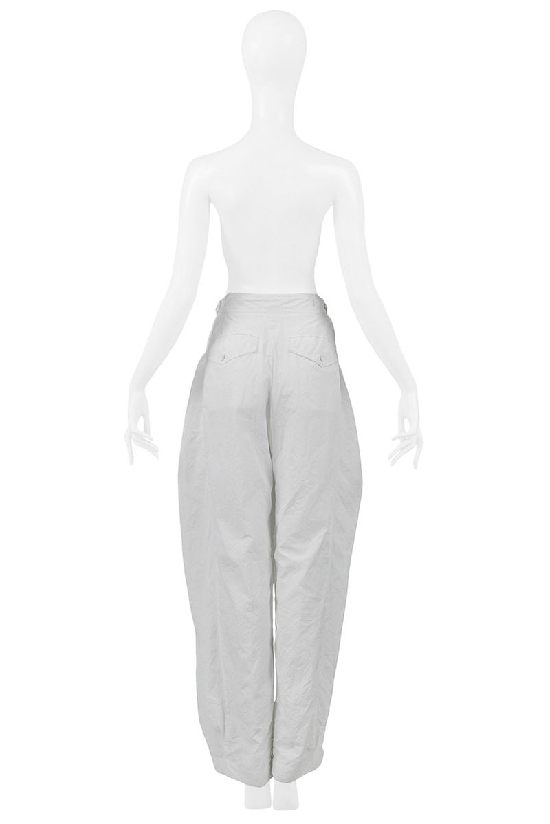 BALENCIAGA BY GHESQUIERE WHITE BALLOON PANTS 2004