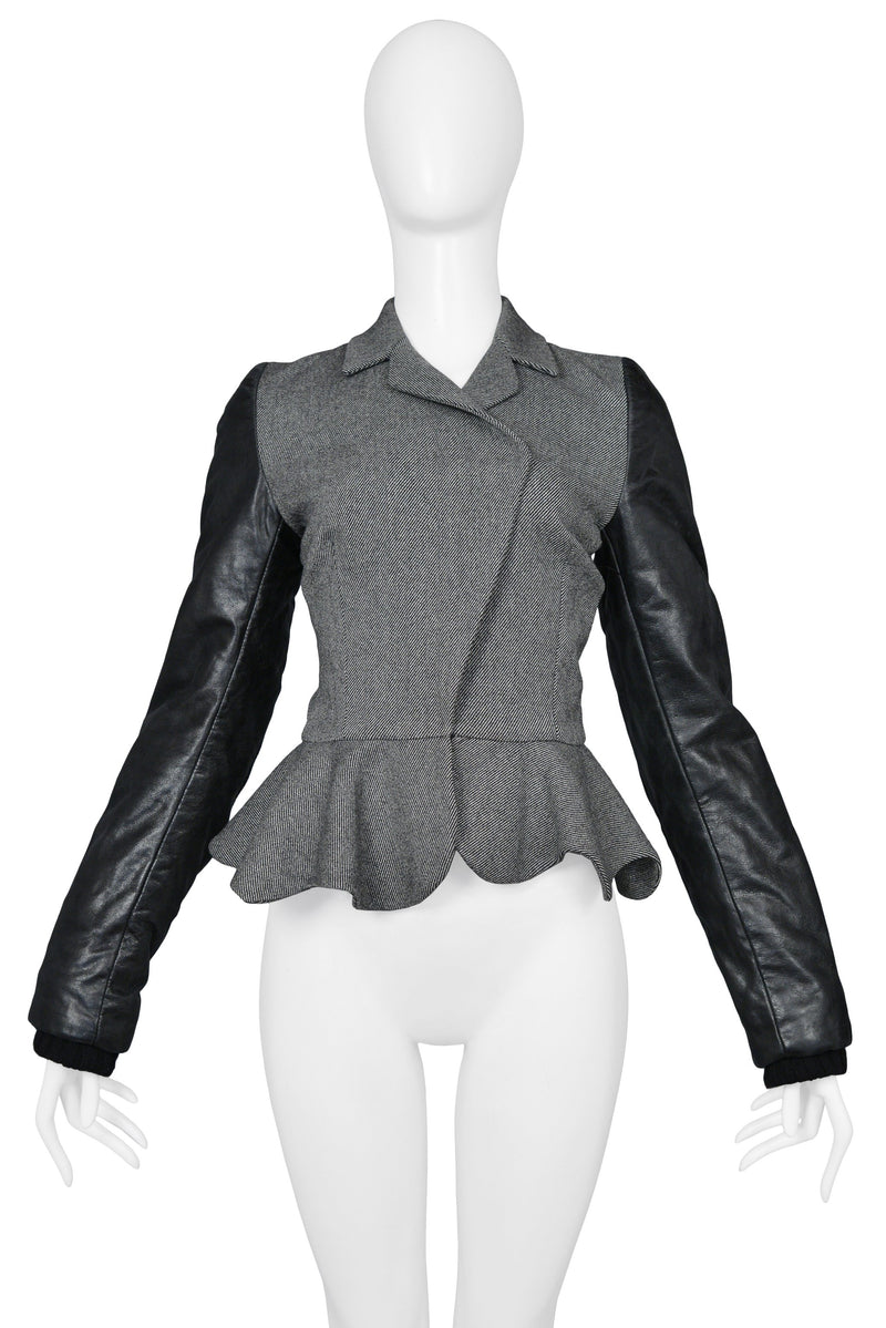 BALENCIAGA BY GHESQUIERE GREY WOOL & LEATHER PEPLUM JACKET 2002