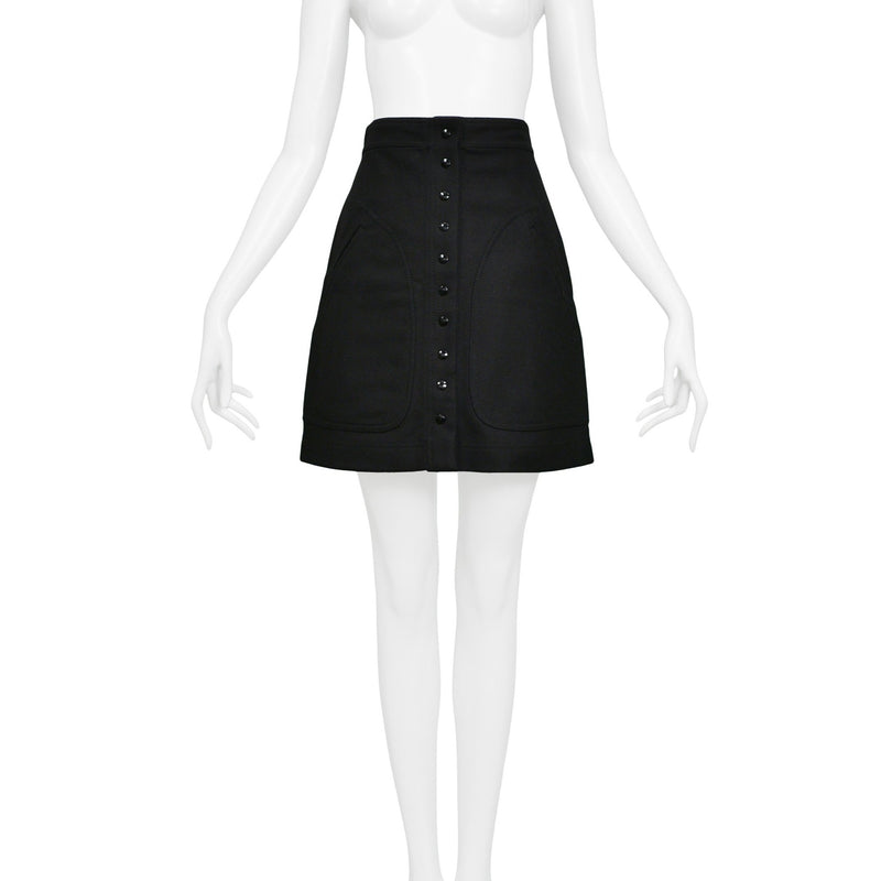 BALENCIAGA BY GHESQUIERE CLASSIC BLACK A-LINE MINI-SKIRT 2003