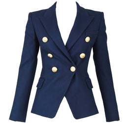 Balmain Navy Pique Double Breasted Blazer