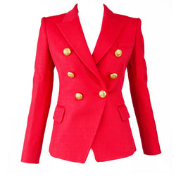 Balmain Red Pique Double Breasted Blazer