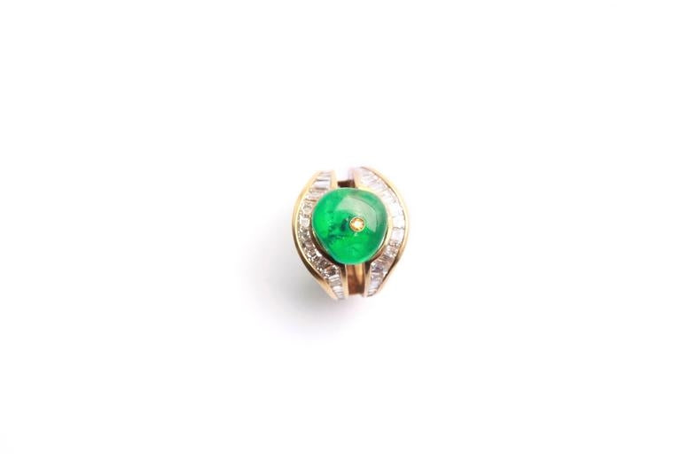 Unusual Emerald Bead Diamond Ring