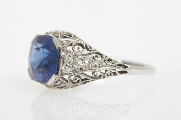 Antique Burma Sapphire Diamond Ring
