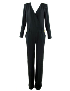 Balmain Silk Long Sleeve Jumpsuit - Size FR 34