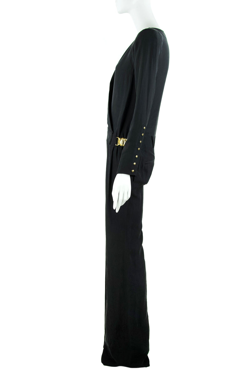 Balmain Silk Long Sleeve Jumpsuit