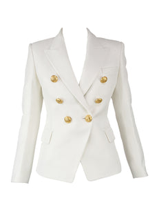 Balmain White Pique Double Breasted Blazer