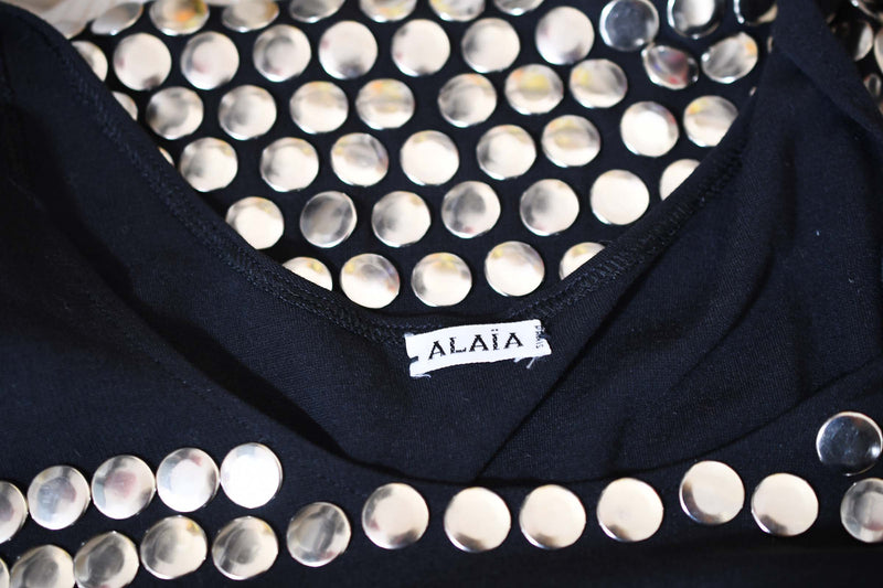 Vintage Alaia Black Mini Dress with Silver Studs