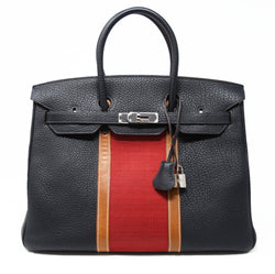 Hermes Birkin Club Bag 35cm Indigo Barenia Red Toile PHW