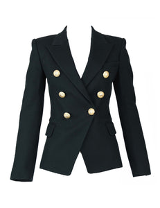 Balmain Black Pique Double Breasted Blazer