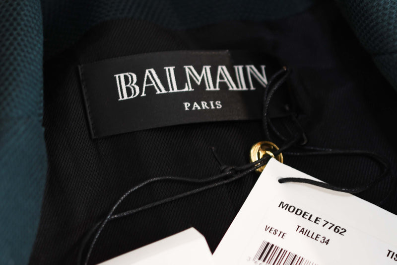 Balmain Dark Green Pique Double Breasted Blazer