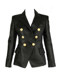 Balmain Black Leather Double Breasted Blazer - Size FR 34