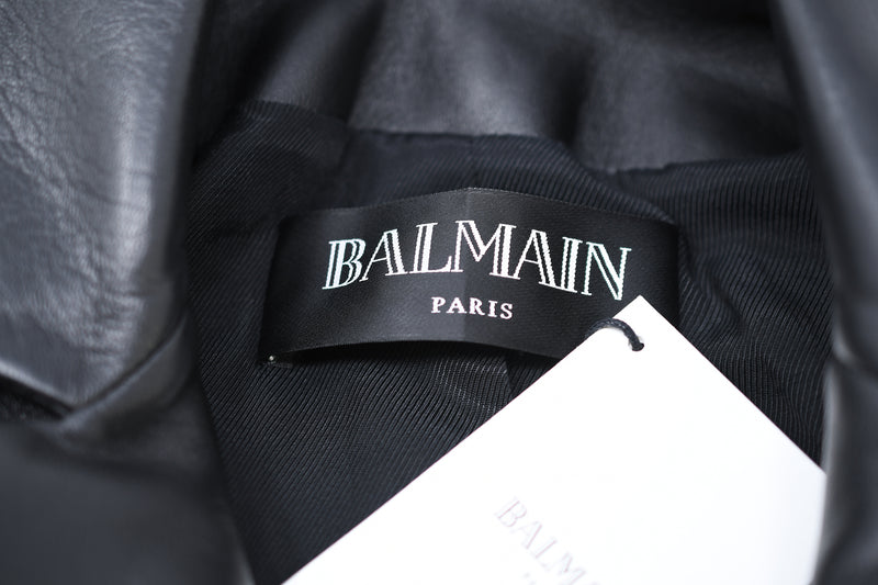 Balmain Black Leather Double Breasted Blazer
