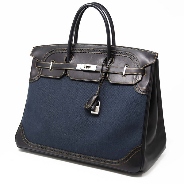 Hermes Ghillies Birkin Bag 40cm Denim Toile and Brown Leather, Limited Edition