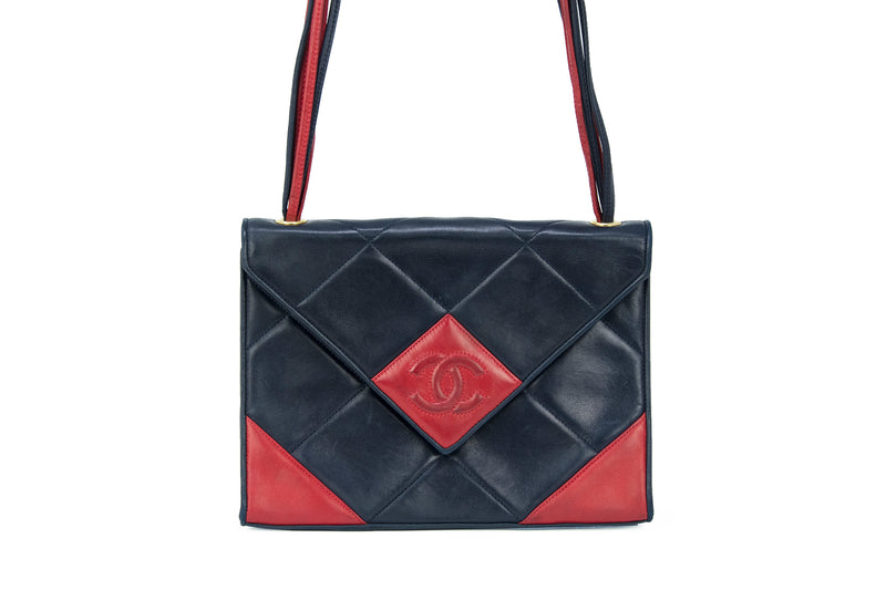 Vintage Chanel Red & Black Quilted Leather Handbag