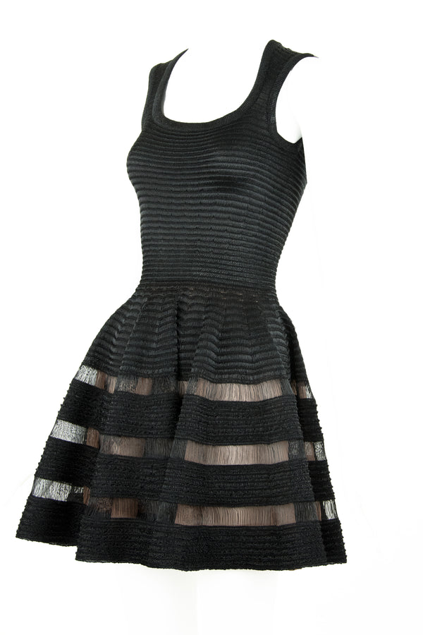 Alaia Sleeveless Black Fit & Flare Dress