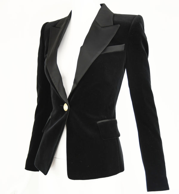 Balmain Black Velvet Blazer with Satin Collar