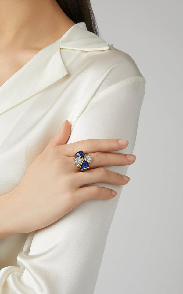 Blue Enamel Diamond Ring