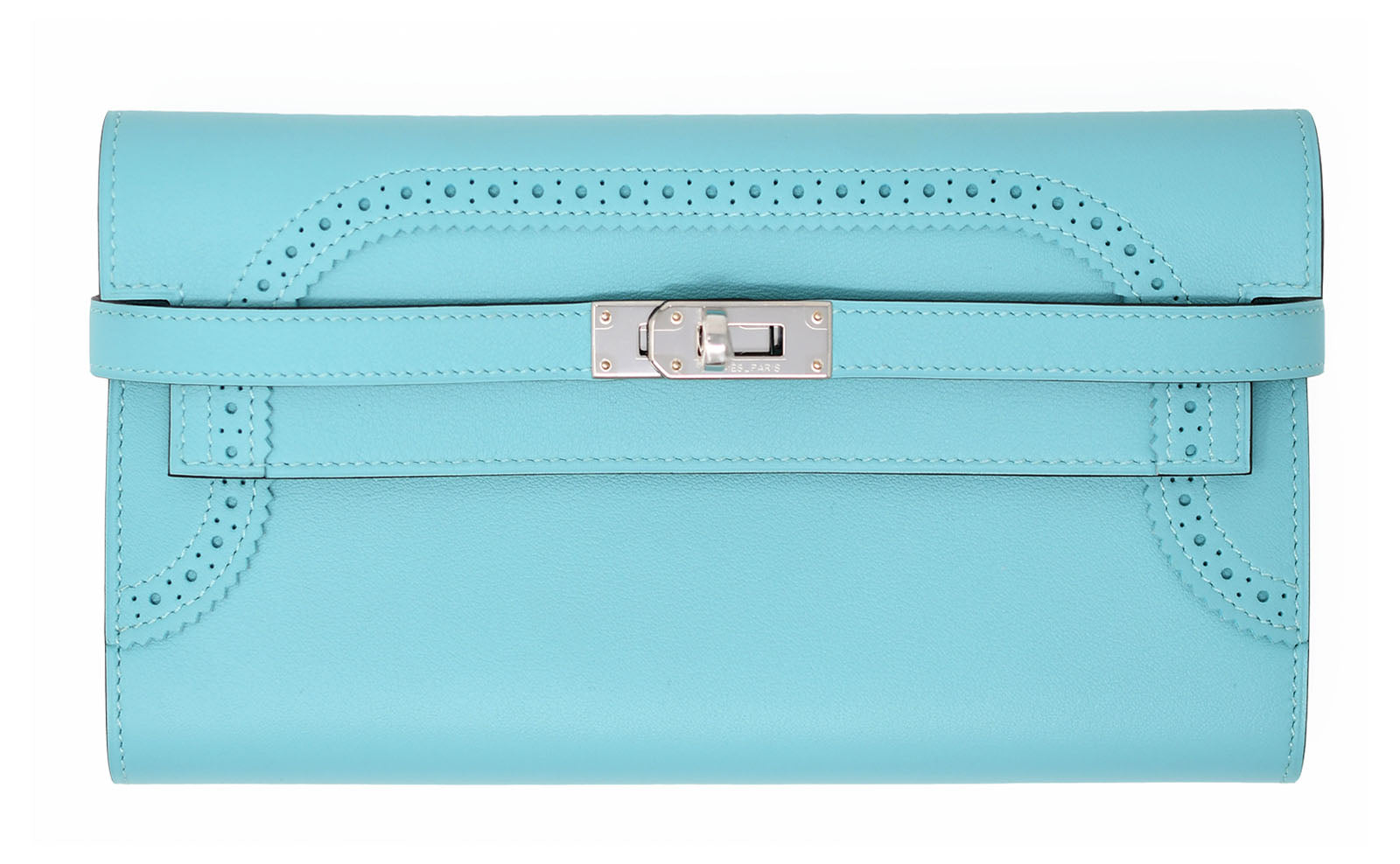 Hermes Ghillies Kelly Wallet in Blue Atoll with Paladium