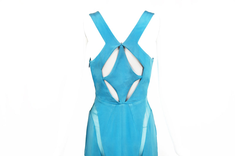 Prabal Gurung Silk Blue Dress with Organza