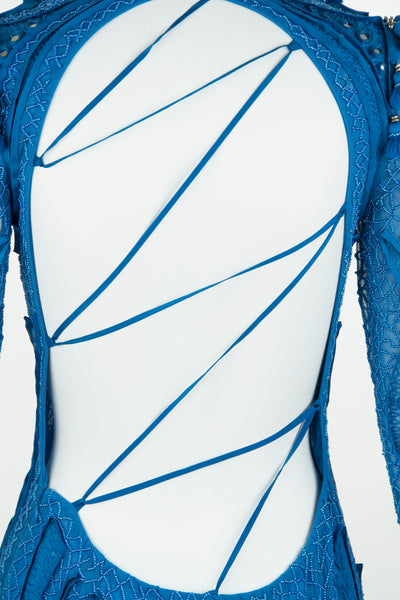 Pucci Blue Embellished Open Back Dress
