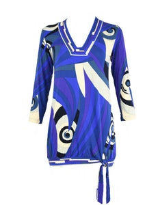 Pucci Blue & Purple Knit Jersey Mini Dress