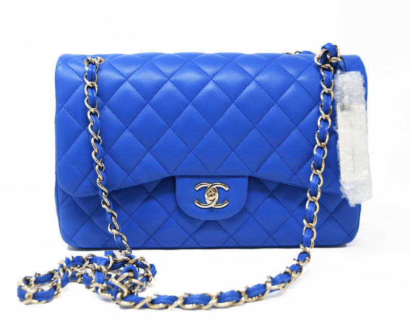 Chanel Blue Quilted Lambskin Jumbo Double Fold Bag