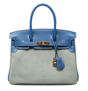 Hermes Birkin Bag 30cm Blue Thalassa Suede with Blue Leather Trim with GHW