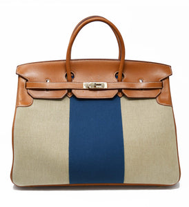 Hermes Birkin Bag 40cm Toile with Navy Stripe and Gold Hardware