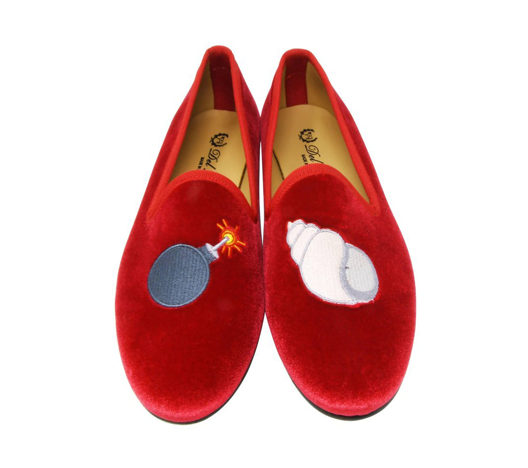 Del Toro Velvet Bombshell Smoking Flats in Red