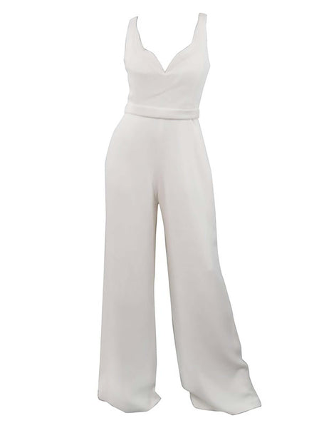 Brandon Maxwell Sleeveless Crepe Wide Leg White Jumpsuit - Size 4