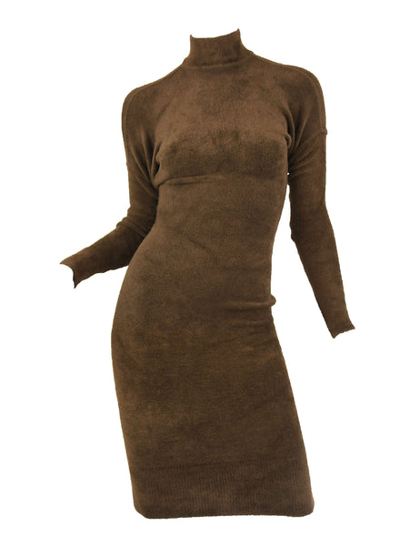 Vintage Alaia Brown Drop Shoulder Long Sleeve Fitted Dress