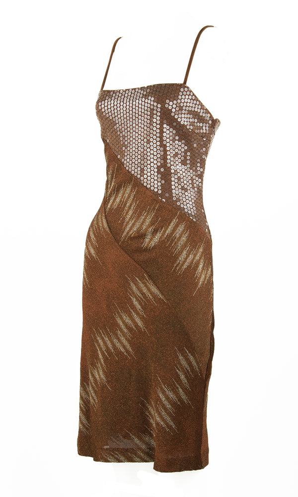 Vintage Missoni Brown, Bronze & Gold Metallic and Sequin Dress