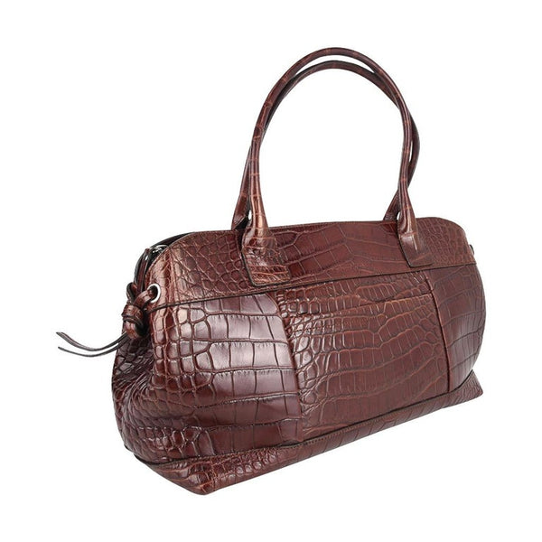 Brunello Cucinelli Bag Luxurious Rich Brown Crocodile Tote / Satchel