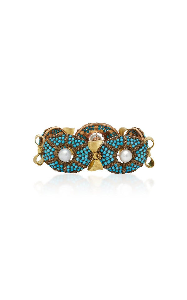Buccellati Turquoise Pearl Gold Bracelet