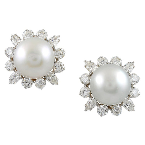Magnificent BULGARI South Sea Pearl Diamond Earrings