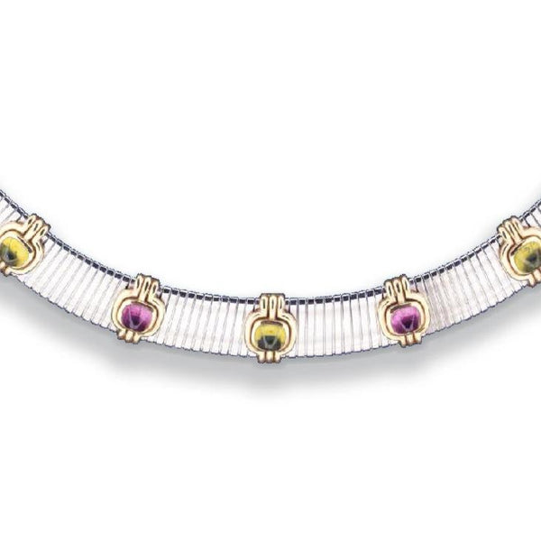Bulgari Steel Tubogas Choker Necklace with Cabochon and Tourmaline Gemstones