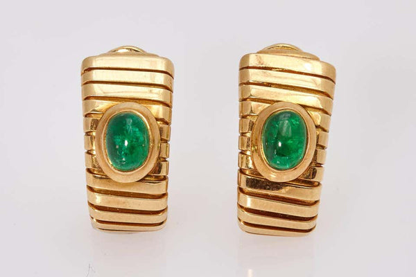 Bulgari Emerald and Gold Tubogas Earclips