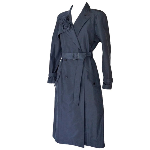 Chanel 03C Coat Trench Style Silk 2 Camellia Pins 42 / 8