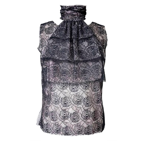 Chanel 03P Top Camellia Chantilly Lace 3 pce Flower Pin Ruffle Cravat 44 / 8 nwt