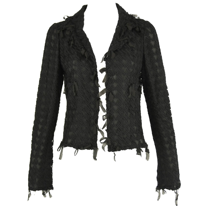 Chanel Black Embroidered Houndstooth Blazer