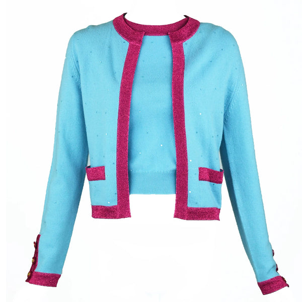 Chanel Light Blue Sweater with Sequins and Pink Metallic Trim