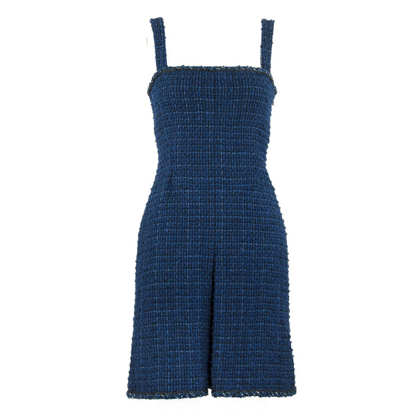 Chanel Navy Tweed Sleeveless Dress