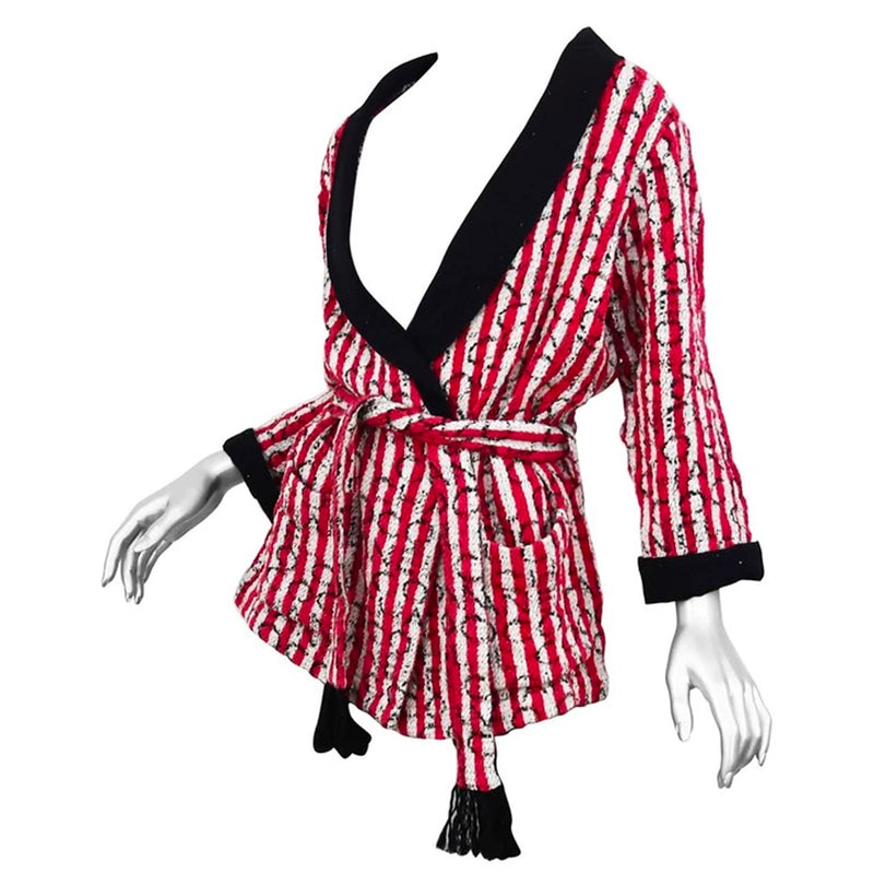 "Chanel Red/White Stripe Jacket with Black Trim and Embossed ""Coco Chanel"" logo"