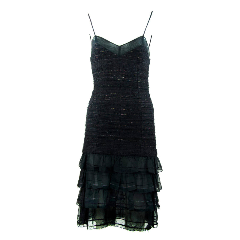 Chanel Spaghetti Strap Dress with Silk Ruffle Bottom
