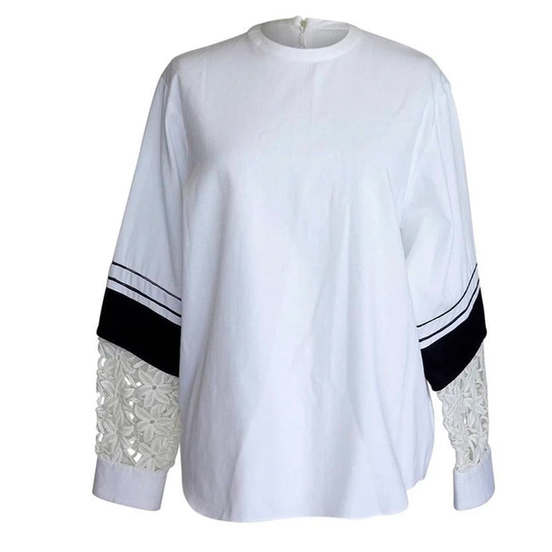 Chloe Black and White Unique Sleeve Flower Cutout Tunic Top